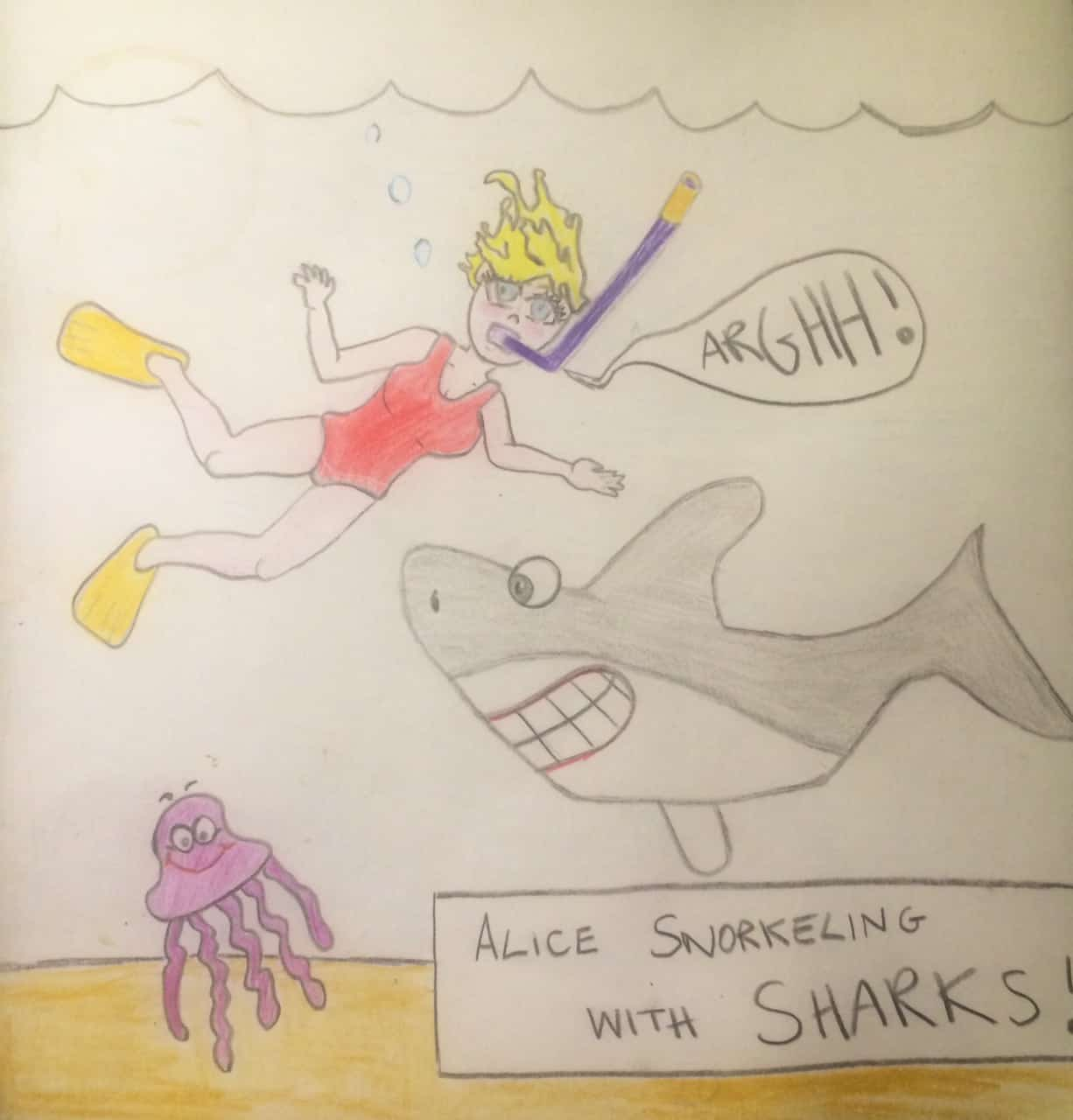 Alice swimming with sharks