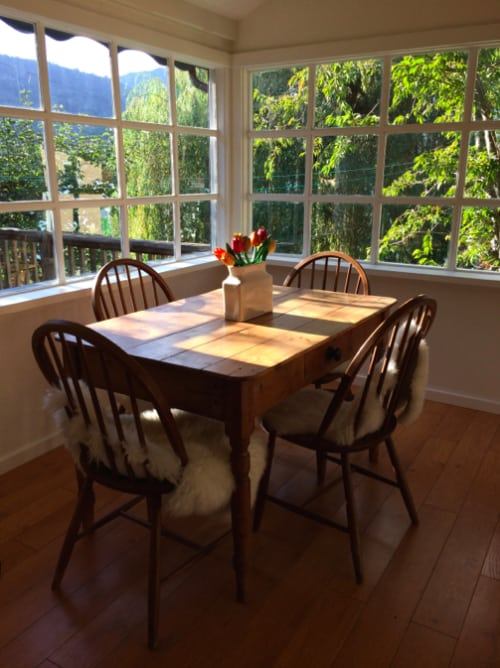 The new dining area sans poky corner window seat—and finally my vision becomes a reality.