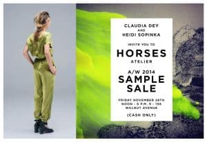 Horses Atelier Sample Sale Today