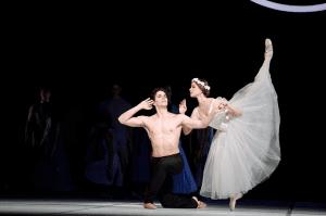 Guillaume Côté and Elena Lobsanova in Nijinsky. Photo by Bruce Zinger. (Les Sylphides ballerina costume)