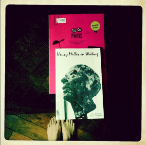 after spending close to two hours (maybe more?) at #shakespeareandcompany, this is what i walked away with: henry miller on writing and the spring/summer edition of @_gogoparis. (why are my feet in this photo? because they have been essential in getting me around and they are happy and tired and deserve a little insta-love. further, if i had a bigger bag, i might have borrowed the resident giant white cat for a sleepover, alas it was not and i did not.)#literaryheaven #thebestofinsiderparis#twofeetandaheartbeat