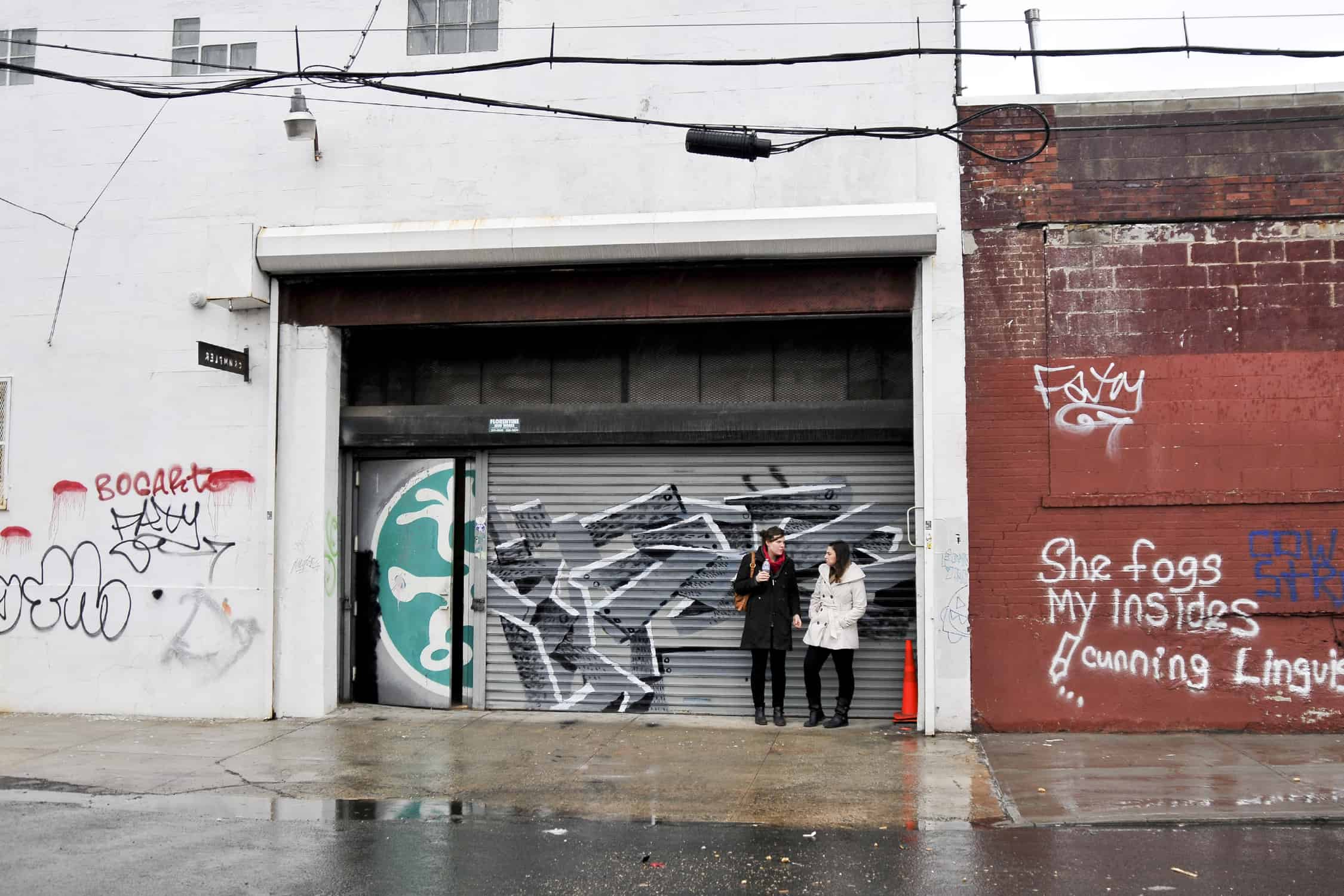 Co-Founders Rachel MacFarlane & Jess Bloom outside of a studio in NYC. Shot by Courtney Vokey.