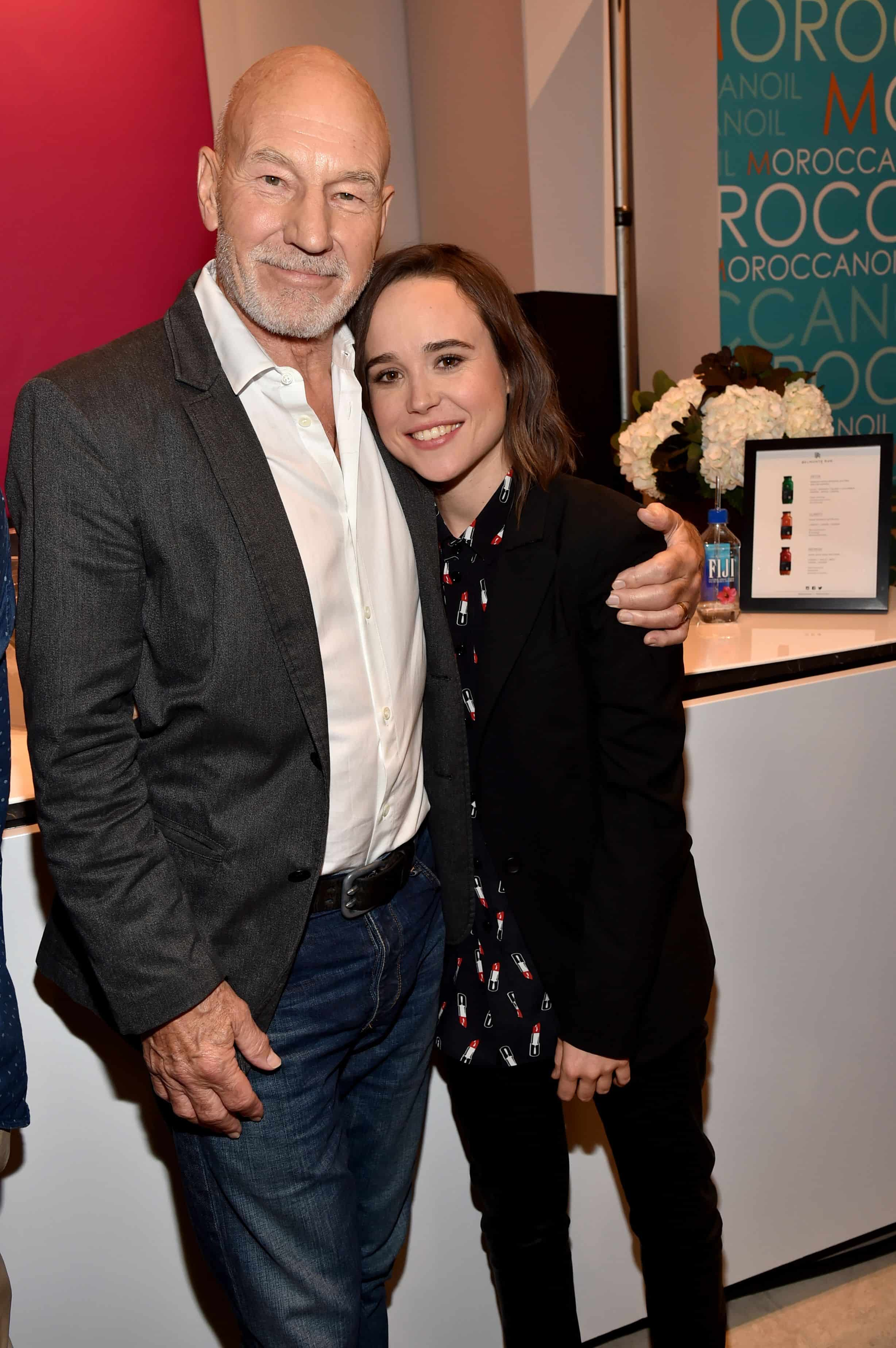 Mandatory Credit: Photo by Buckner/Variety/REX Shutterstock (5073671bc) Patrick Stewart and Ellen Page at the Variety Fandango Studio Powered by Samsung Galaxy at Holt Renfrew during the 2015 Toronto International Film Festival on 11 Sep 2015 in Toronto, Canada. Variety Fandango Studio Powered by Samsung Galaxy, Toronto International Film Festival, Canada - 11 Sep 2015