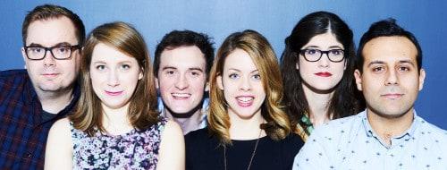 Becky Johnson , Kirsten Rasmussen, Kevin Whalen, Etan Muskat, Kyle Dooley, Leigh Cameron. Photo by David Leyes.