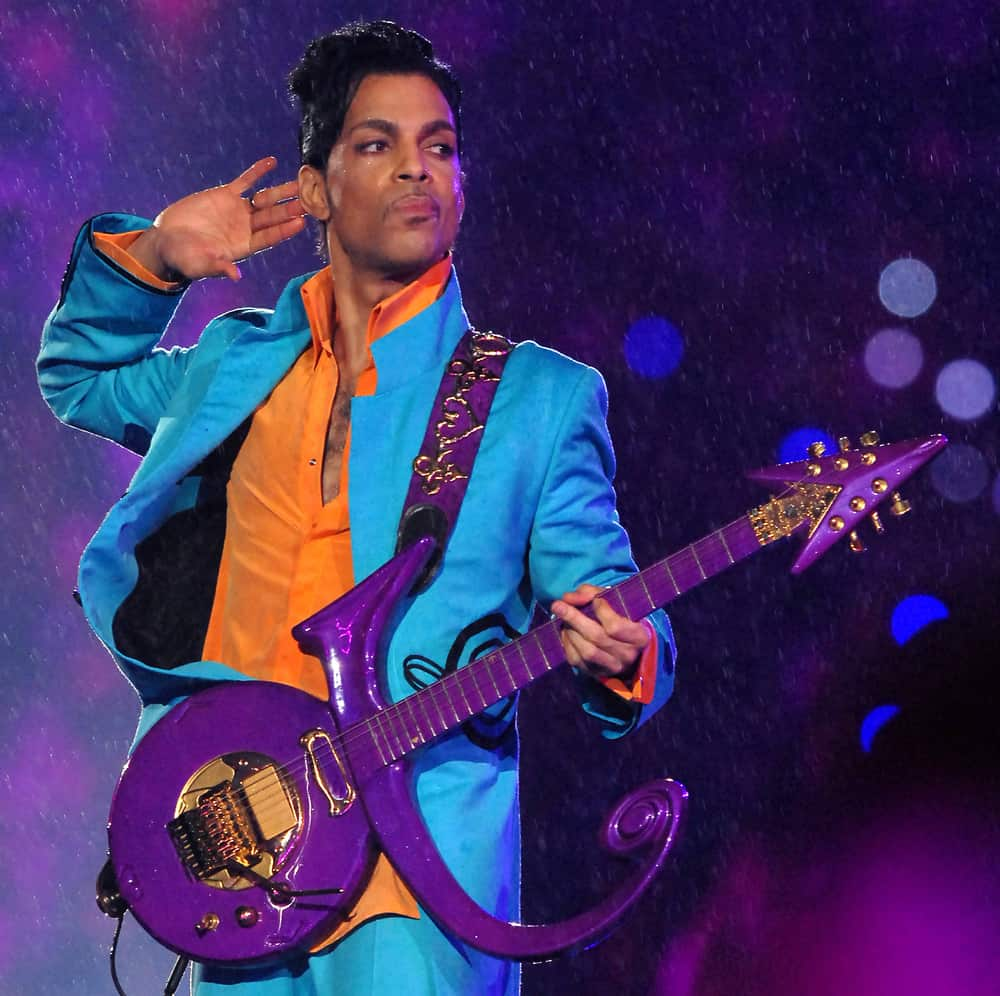 Prince performs at half time during Super Bowl XLI between the Indianapolis Colts and Chicago Bears at Dolphins Stadium in Miami, Florida on February 4, 2007. (Photo by Theo Wargo/Getty Images)
