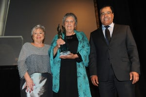 From left Roberta Jamieson, Maria Campbell and Dr Abuelaish