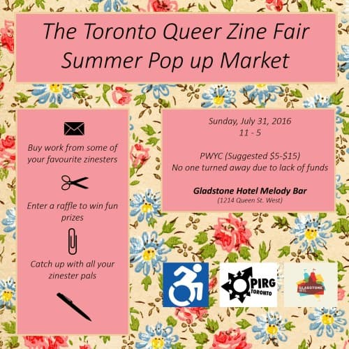 Summer Pop Up Market & Mingle: A Fundraiser for Toronto Queer Zine Fair IV