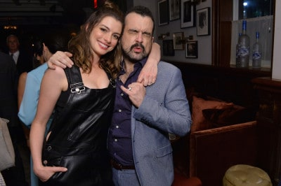 TORONTO, ON - SEPTEMBER 09:  (L-R) Actress Anne Hathaway and director Nacho Vigalondo at the Colossal TIFF party hosted by GREY GOOSE Vodka and Soho House Toronto on September 9, 2016 in Toronto, Canada.  (Photo by Stefanie Keenan/Getty Images for Grey Goose Vodka )