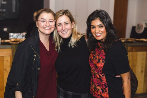 Photo by Yasin Osman. L-R: Liz Kohn (Director of Communications at Artscape), Jane Hopgood (Director of Fund Development at Artscape), and Nidhi Khanna.