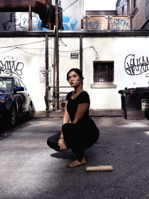 Fashion blogger Karuna Israni wearing Meraki flats.