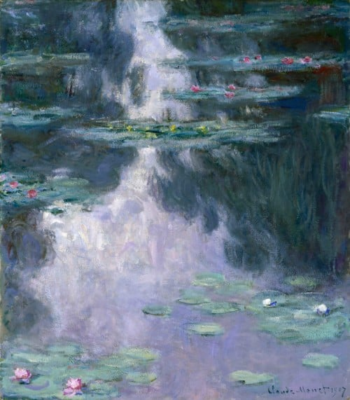 HST129577 Water Lilies (Nympheas) 1907 (oil on canvas) by Monet, Claude (1840-1926); 92.1x81.1 cm; Museum of Fine Arts, Houston, Texas, USA; Gift of Mrs Harry C. Hanszen; PERMISSION REQUIRED FOR NON EDITORIAL USAGE; French, out of copyright PLEASE NOTE: The Bridgeman Art Library works with the owner of this image to clear permission. If you wish to reproduce this image, please inform us so we can clear permission for you.