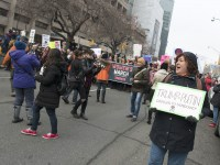 TORONTO, ON: Women's March Toronto. Saturday January 20th 2017. Queen's Park followed by March to US Consulate followed by City Hall. Speakers and musicians present. 50,000 + people in attendance. Photos by Solana Cain
